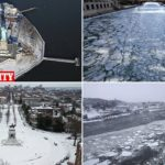 Incredible aerial photos show freezing conditions in East