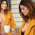 Blanca Blanco goes TOPLESS in pink panties and open robe at Sundance