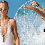 Lady Victoria Hervey suffers a nip slip as she takes a dip in Barbados