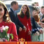 Kate Middleton giggles in royal red alongside Prince William on Belfast visit