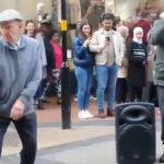 Dancing pensioner performs amazing impromptu beatbox jig in city centre