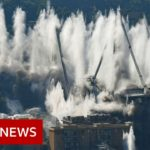 The moment 4,500 tonnes of concrete is blown up in Italy