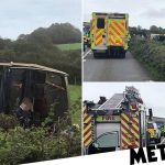 Major incident declared after bus overturns 'trapping up to 20 people'