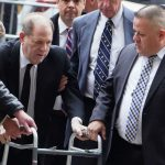 Harvey Weinstein arrives on walking frame for start of rape trial