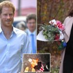 Meghan Markle struggles to hide her smile while carrying fresh bouquet