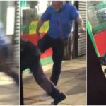 Driver filmed throwing passenger off bus then kicking him in the stomach