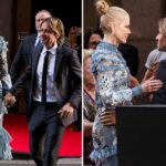 Nicole Kidman and Keith Urban look closer than ever as the actress turns heads in an eye-catching blue dress