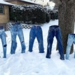 It's so cold in America their jeans are freezing solid